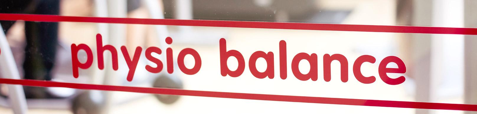 physiobalance Logo im Fenster